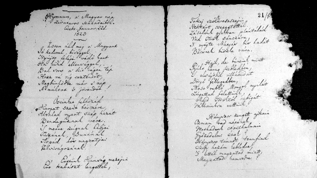 Kölcsey Ferenc: Himnusz. Eredeti kézirat (1823). (Országos Széchenyi Könyvtár) MTI Fotó: Ráfael Csaba