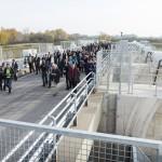 Tunyogmatolcs, 2014. november 7. A Szamos-Kraszna-közi árvízszint-csökkentő tározó avatásának résztvevői Tunyogmatolcs határában 2014. november 7-én. MTI Fotó: Balázs Attila