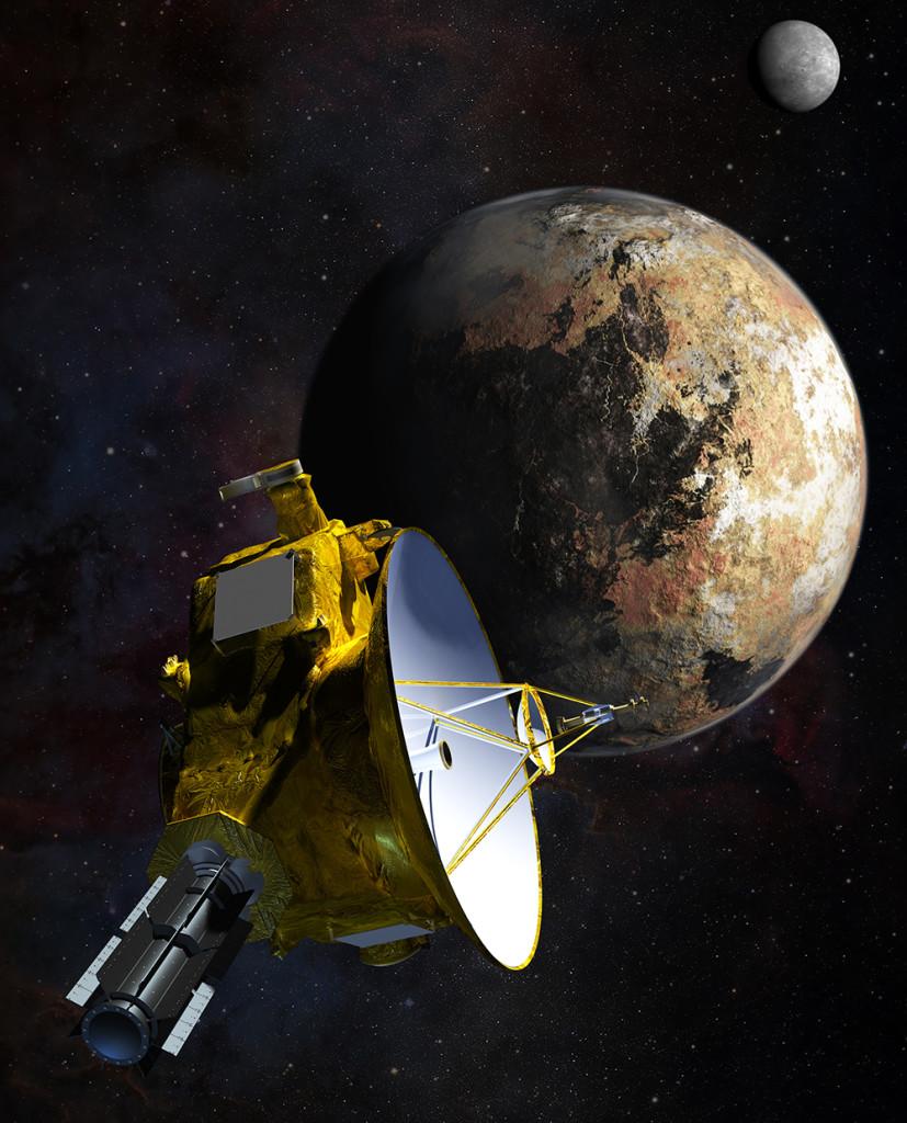 Koncepciórajz a New Horizons elhaladásáról a Plútó és a Kharón mellett. (Fotó: NASA/JHU APL/SwRI/Steve Gribben)