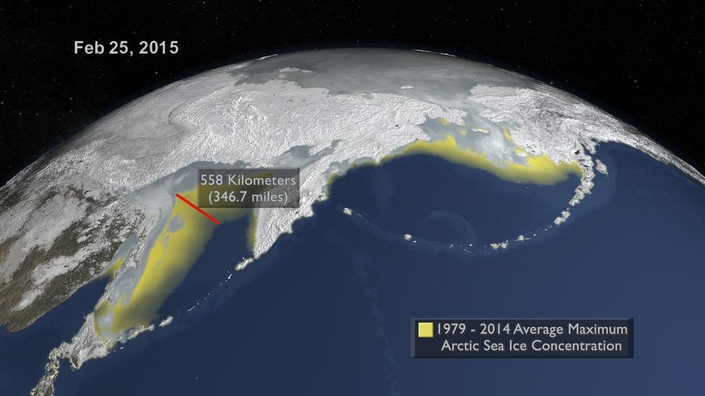 A képen a 2015-ös maximumot vetik össze az 1979-2014-es átlagos maximummal, amit sárgán jeleznek. A távolságjelzés feltárja a különbséget a kettő kiterjedés között az Ohotszki-tengernél.  (Fotó: NASA's Goddard Űrrepülési Központ)