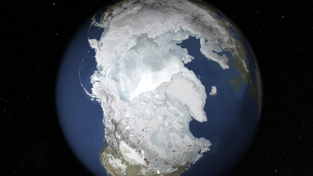 A sarki tengeri jég február 25-én érte el idei maximumát. A 14,5 millió négyzetkilométeres kiterjedés 1979 óta a legalacsonyabb mértékű és egyben a legkorábban jelentkező. (Fotó: NASA's Goddard Űrrepülési Központ)