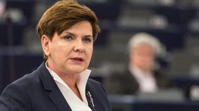 Beata Szydlo lengyel miniszterelnök. (MTI/EPA/Patrick Seeger)