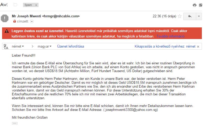 E-mailes átverés