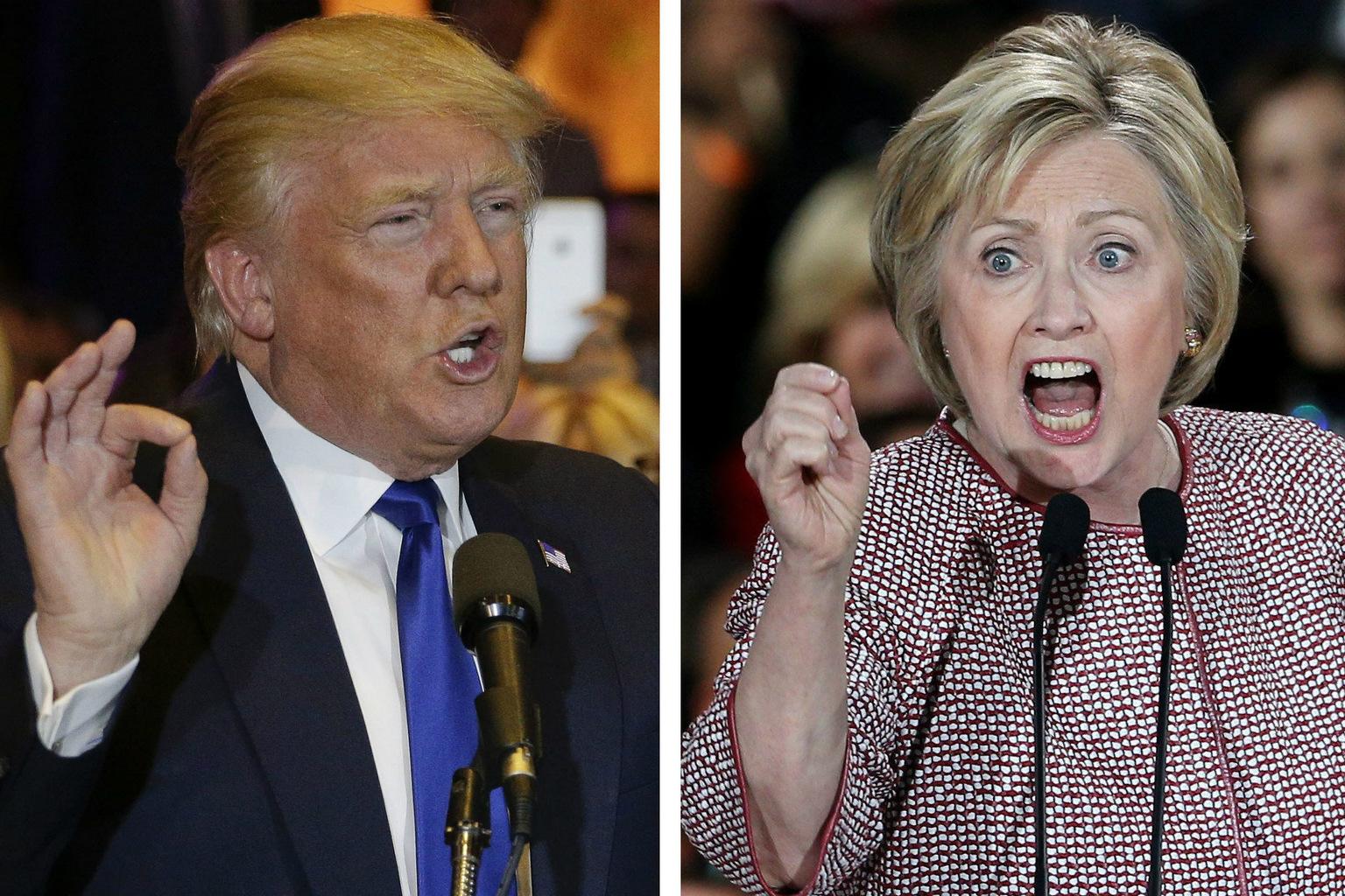 Donald Trump és Hillary Clinton 2016. április 19-én a New York állambeli előválasztáson (Fotó: MTI/AP/Julie Jacobson/EPA/Justin Lane)