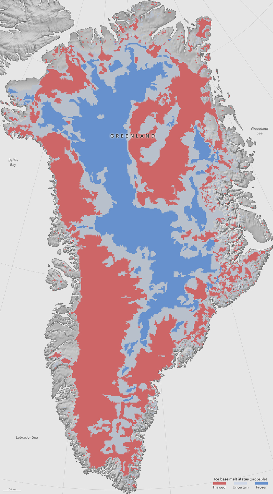 Grönland felszínközeli jégtérképe. Vörös: olvadt, kék: fagyott, szürke: bizonytalan. (Fotó: NASA Earth Observatory/Jesse Allen)