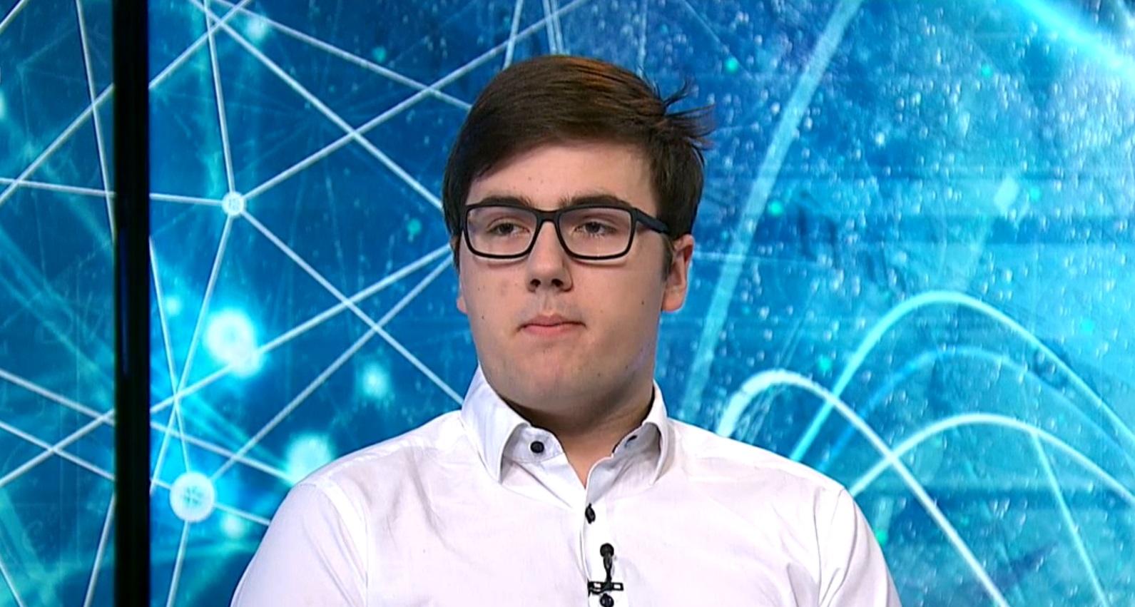 Udvardi Péter, az EU Ifjúsági Tudományos és Innovációs Tehetségkutató Versenyének különdíjasa (Forrás: M1)