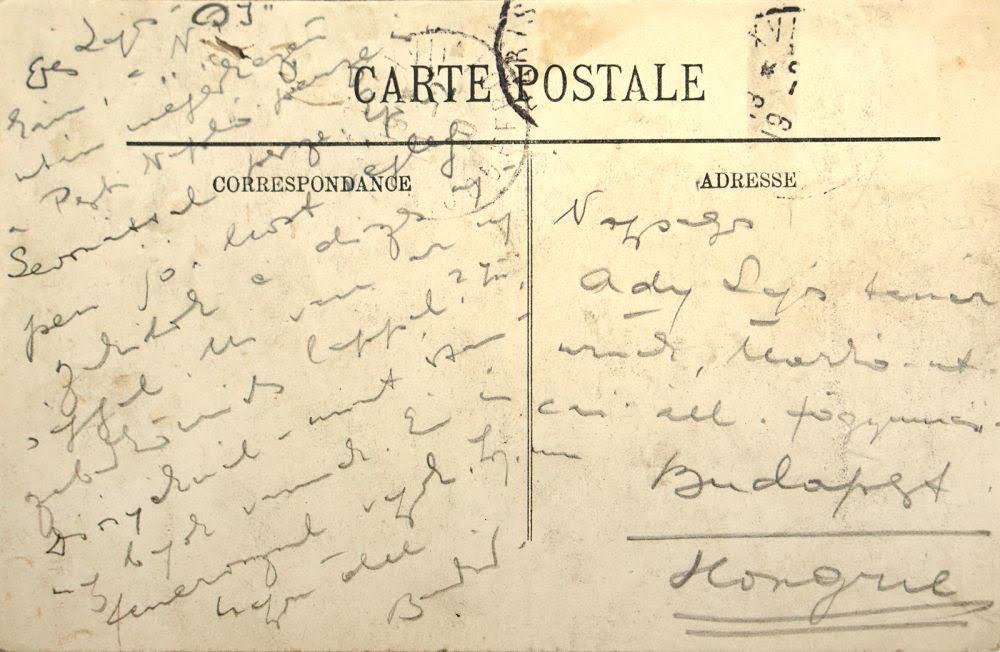 Ady Endre eredeti párizsi képeslapja.