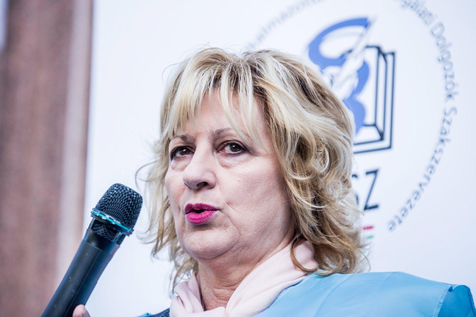 Boros Péterné, a Magyar Köztisztviselők, Közalkalmazottak és Közszolgálati Dolgozók Szakszervezete (MKKSZ) elnöke. MTI Fotó: Balogh Zoltán
