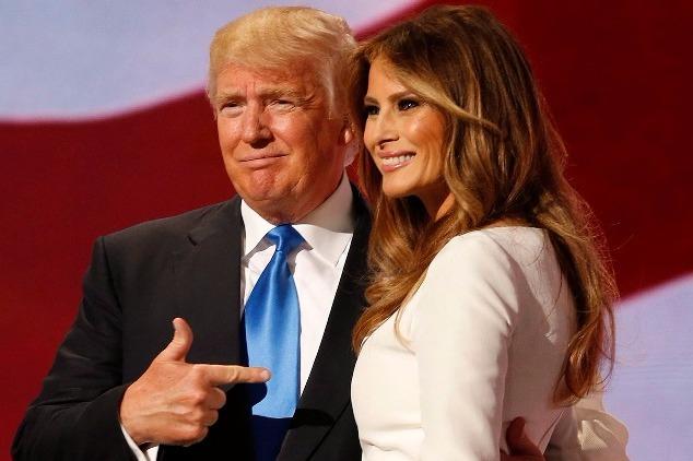 Donald Trump, az amerikai Republikánus Párt várható elnökjelöltje és  felesége, Melania. (MTI
