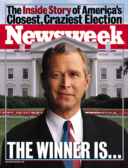 2000-ben egy hajszál választotta el Al Gore-t az elnökségtől. A Newsweek címlapja tökéletesen szemléltette, milyen őrült szoros eredmény született
