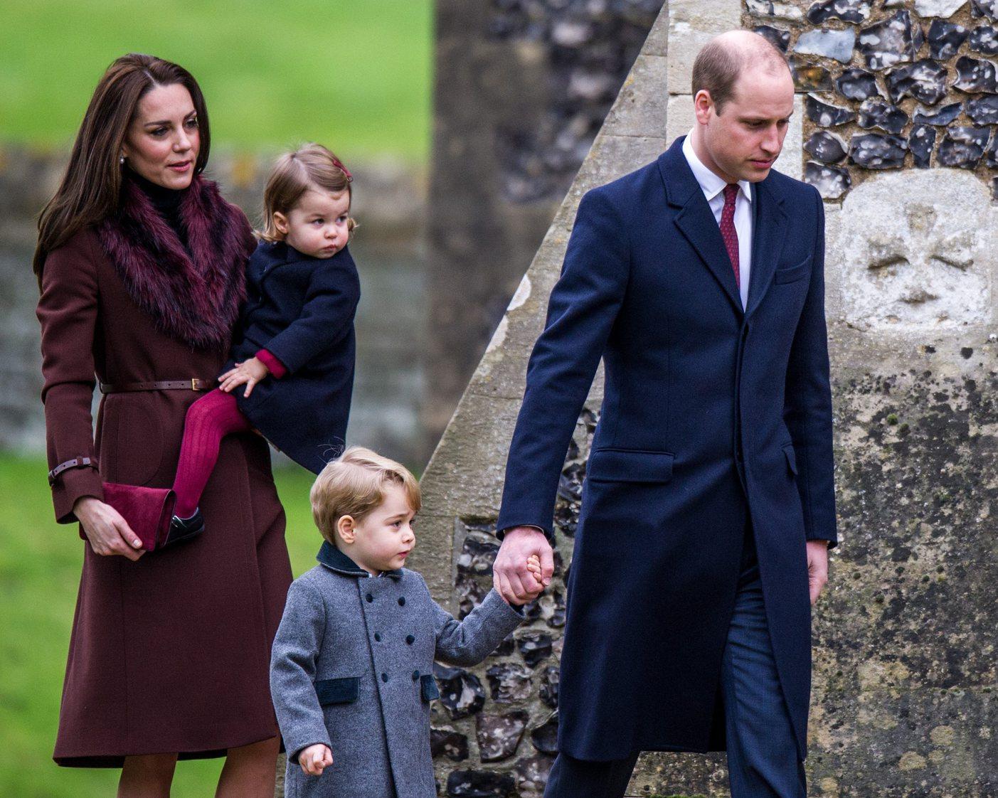Katalin hercegné, Vilmos herceg, Sarolta hercegné és György herceg még karácsony napján  Bucklebury-ben. Fotó: MTI/EPA
