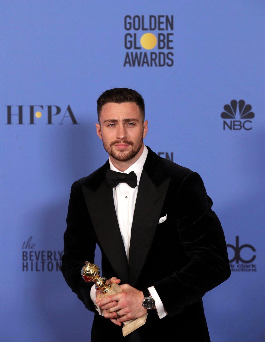 Aaron Taylor-Johnson a 74. Golden Globe-díj átadáson. Fotó: MTI/EPA