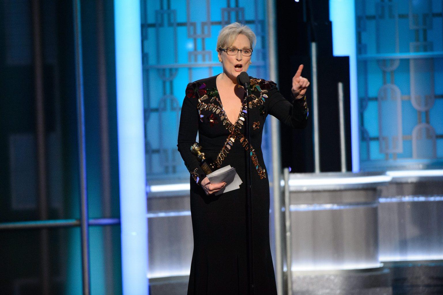 Meryl Streep a 74. Golden Globe díjáatón. Fotó: MTI/EPA