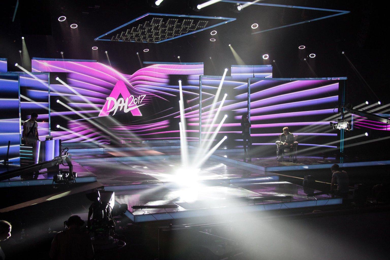 Az Eurovíziós Dalfesztivál magyar versenye, A Dal 2017 című televíziós showműsor díszlete a Médiaszolgáltatás-támogató és Vagyonkezelő Alap (MTVA) Kunigunda utcai gyártóbázisán 2017. január 11-én (MTI Fotó: MTVA Sajtóosztály)