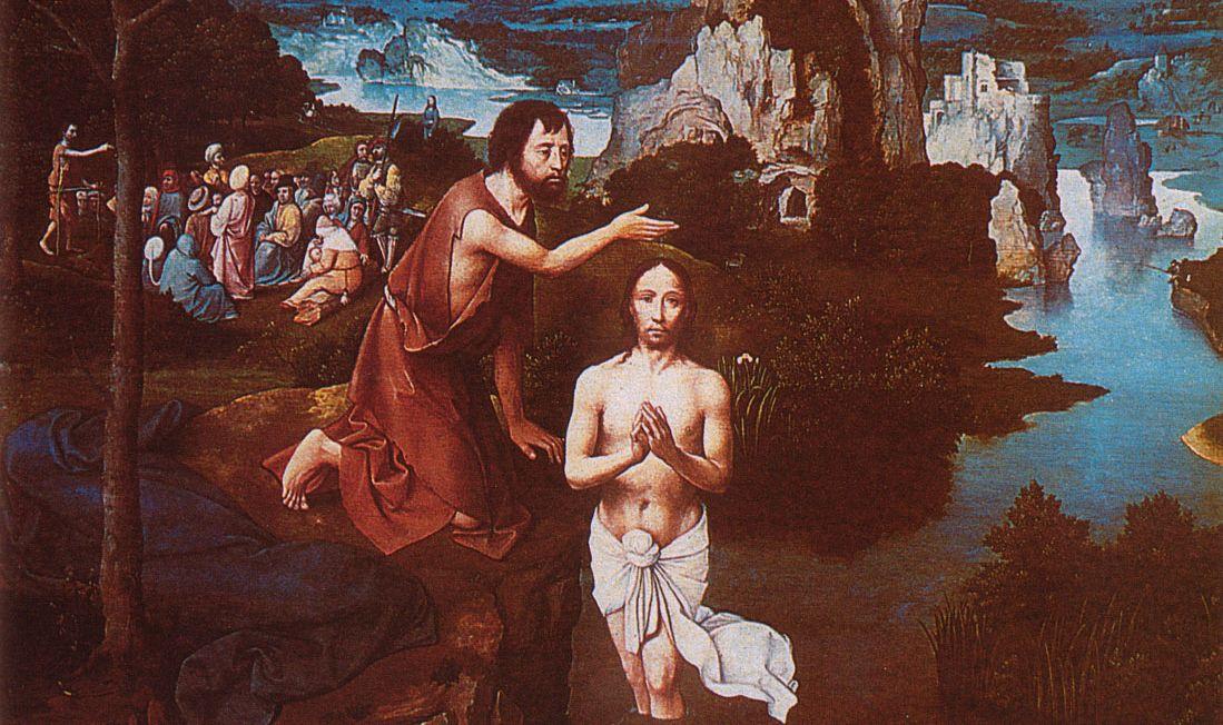 Joachim Patinir: Jézus megkeresztelése (részlet). Kép: biblia.hu