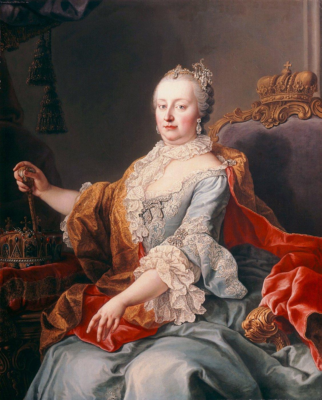 Martin van Meytens svéd festő 1759-ben alkotott portréja Mária Teréziáról. Forrás: Wikimedia Commons