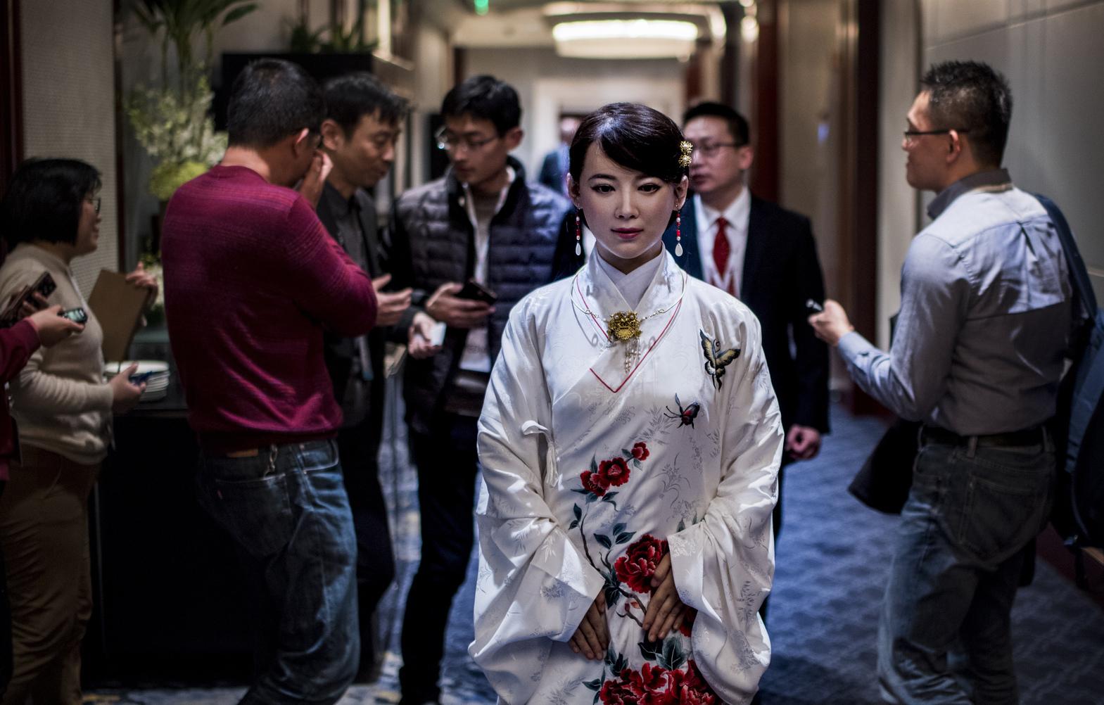 Csia Csia a sanghaji konferencián. (Fotó: AFP)
