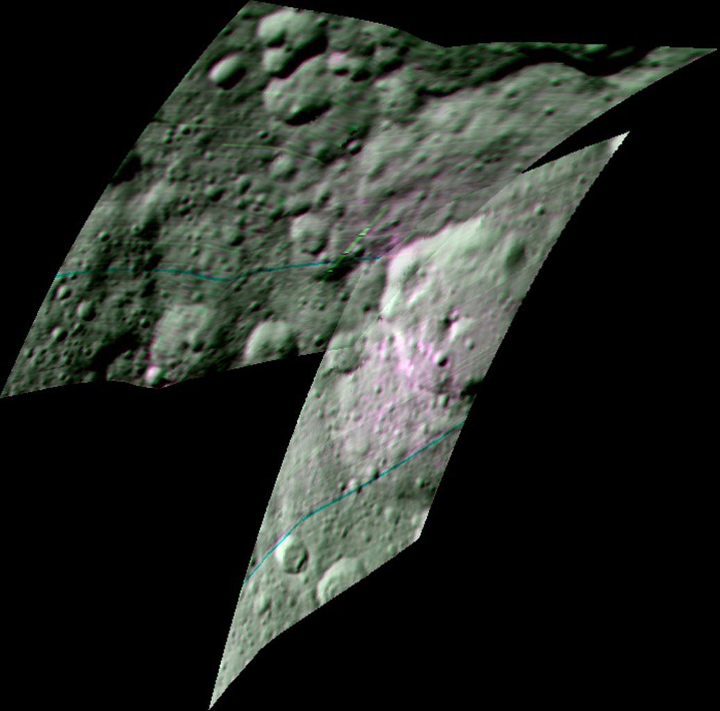 A színes kompozitkép a Dawn spektrométerének adatait öleli fel, és az Ernutet-kráter körüli régiót mutatja. A készülék szerves molekulákat észlelt a területen. A szerves anyagokban gazdag területek rózsaszínűek, míg zölden jelölték azokat a régiókat, ahol a szerves anyagokat kisebb mennyiségben mutatták ki.  (Fotó: NASA/JPL-Caltech/UCLA/ASI/INAF)