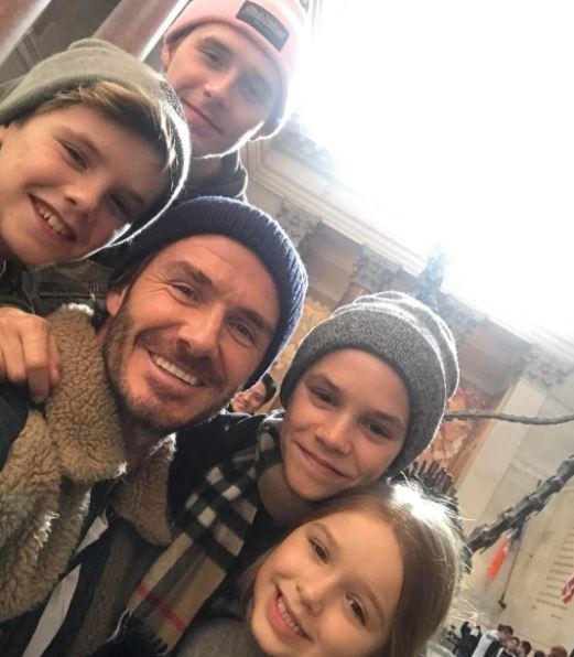 David Beckham és gyerekei. Fotó: Instagram