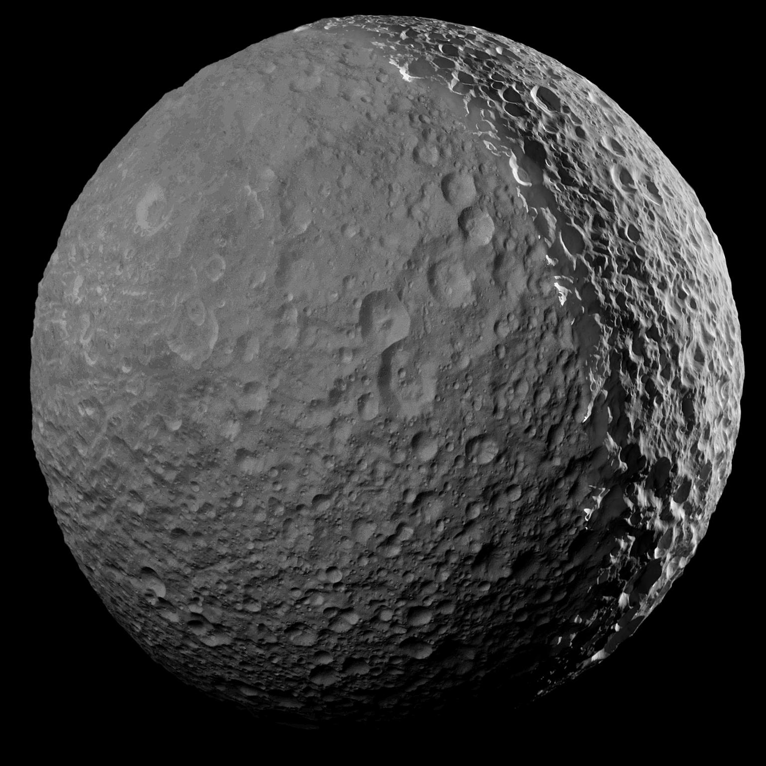 A Mimasz a Cassini január 30-i felvételén. (Fotó: NASA/JPL-Caltech/Űrtudományi Intézet)