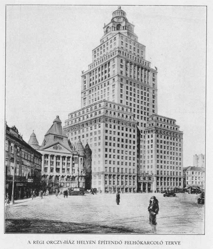 Gregersen Hugó 26 emeletes felhőkarcolójának a terve a Madách térre 1930.