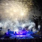 Budapest, 2017. július 14.<br /> Tűzijáték a 17. vizes világbajnokság megnyitóján a Lánchíd pesti hídfőjénél 2017. július 14-én.<br /> MTI Fotó: Koszticsák Szilárd