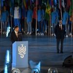 Budapest, 2017. július 14.<br /> Áder János köztársasági elnök nyitóbeszédet mond a 17. vizes világbajnokság megnyitóján a Lánchíd pesti hídfőjénél, a Duna vizén kialakított alkalmi színpadon 2017. július 14-én. Jobbról Julio C. Maglione, a Nemzetközi Úszó Szövetség (FINA) elnöke (j2) és Tarlós István főpolgármester (j).<br /> MTI Fotó: Illyés Tibor