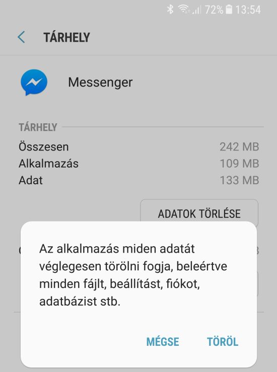 Android adattorles Messenger