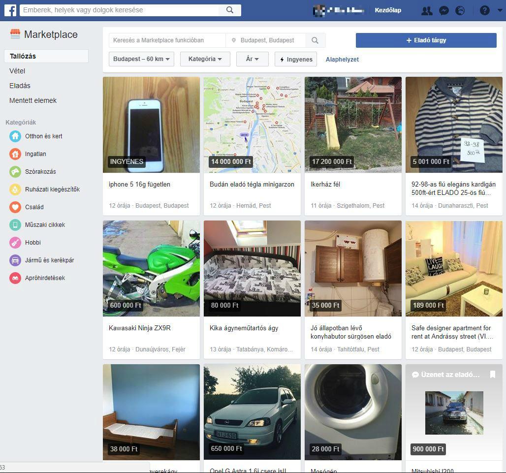 7e5fb7a983 Kattintásra igazi apróhirdetési oldal jelenik meg a Facebookba mélyen  ágyazva, amelyben kereshetünk termékféleségek között ...