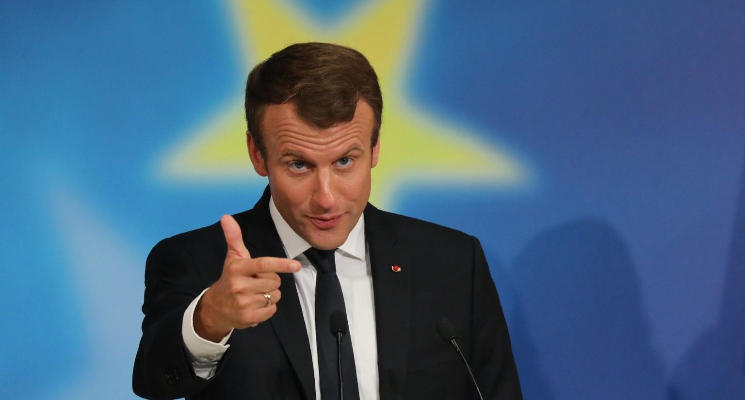 Emmanuel Macron francia elnök ismerteti az Európai Unió és az eurózóna reformjára vonatkozó javaslatait a párizsi Sorbonne egyetemen 2017. szeptember 26-án. (MTI/EPA pool/Ludovic Marin)