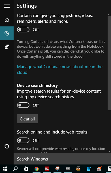 Cortana kikapcsolva