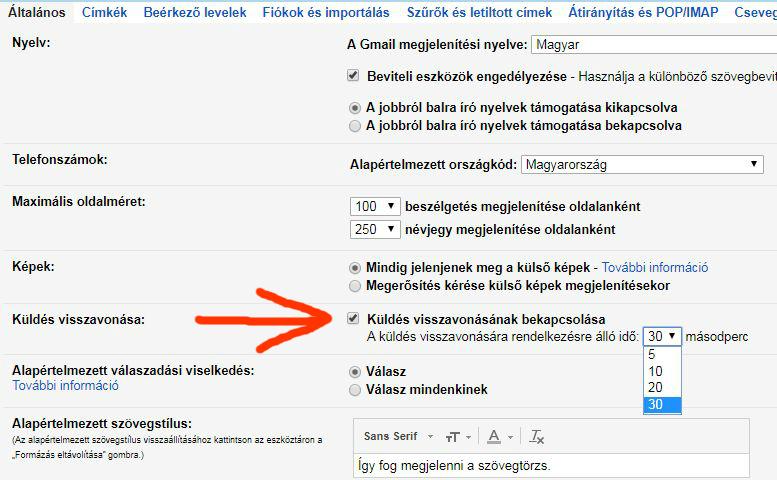 Gmail kuldes visszavonasa