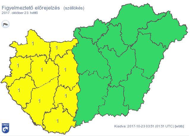Az Országos Meteorológiai Szolgálat figyelmeztető előrejelzése. Fotó: met.hu