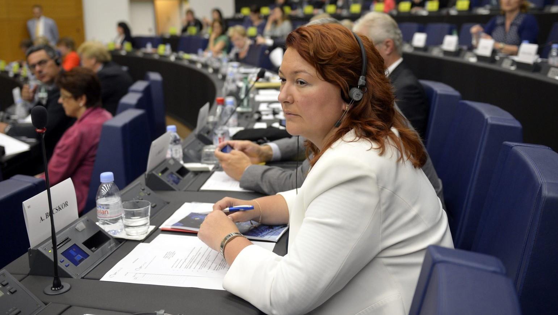 Bocskor Andrea, a Fidesz EP-képviselője az Európai Parlament (EP) néppárti frakciójának ülésén Strasbourgban 2014. július 15-én (MTI Fotó: Beliczay László)