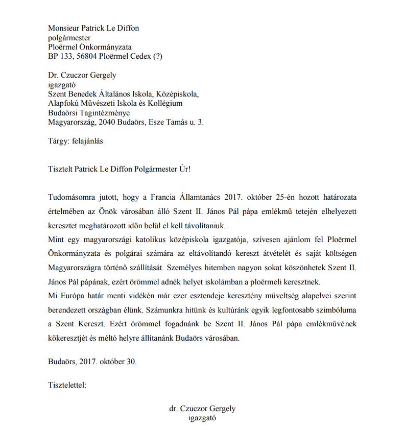 levél Patrick Le Diffon polgármesternek