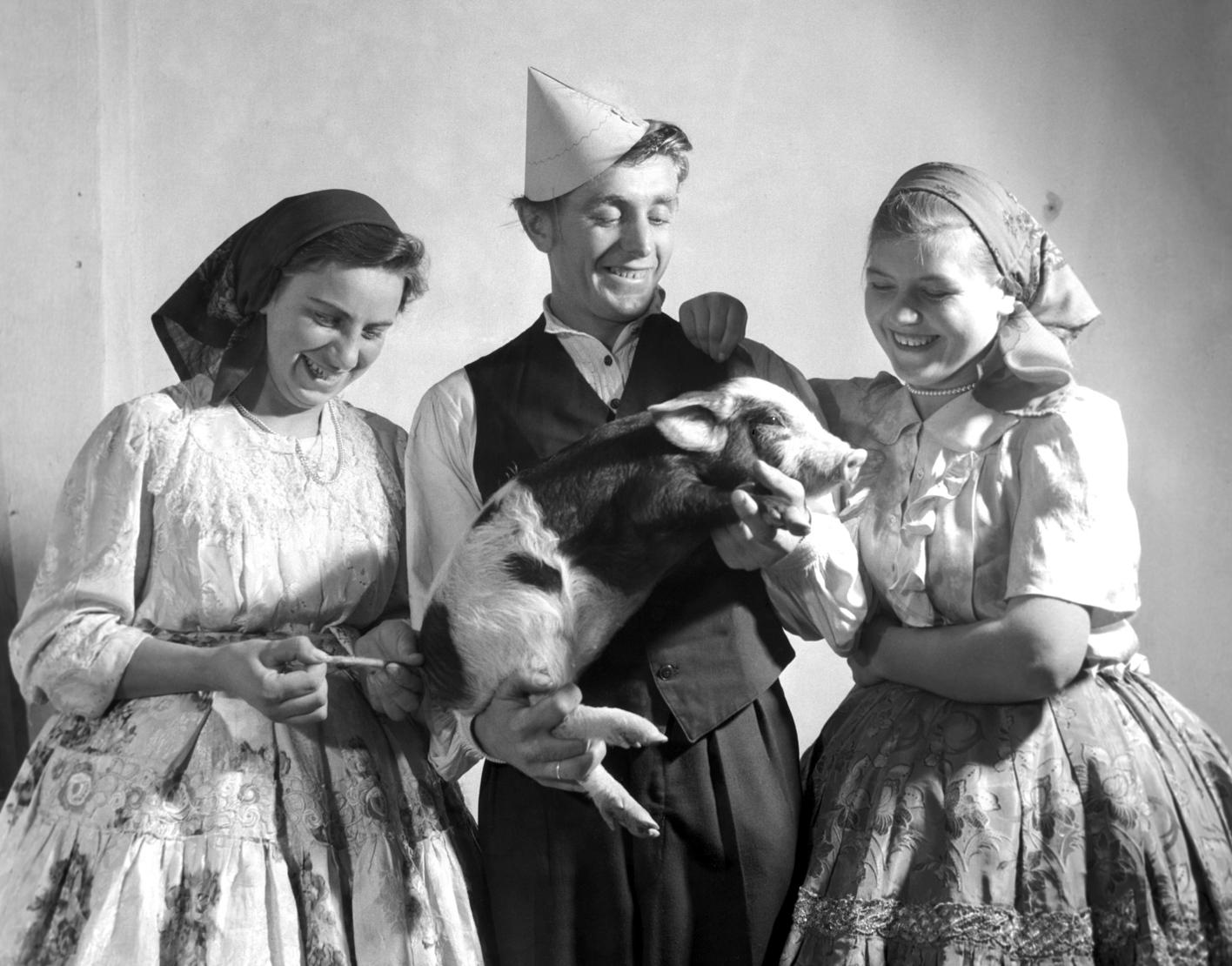 Tolna megye, 1958. január 1. A népviseletbe öltözött Szűcs Viktória, Molnár József és Molnár Julianna KISZ tagok megérintik az újévi szerencse hozó malacot Szilveszterkor a Sárközi Gazdaságban. MTI Fotó: Urbán Nándor