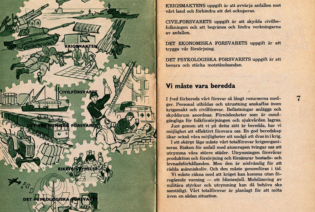 Ha jön a háború 1961-es kiadványának egyik lapja. Fotó: Skymningslage.se