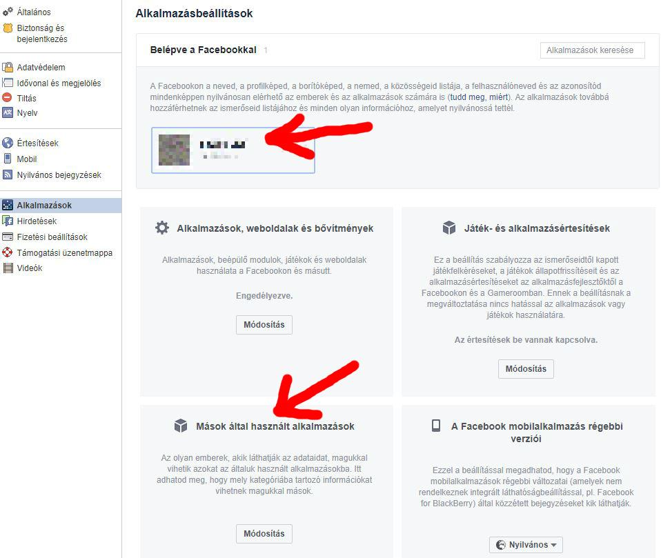 facebook alkalmazasok beallitasai