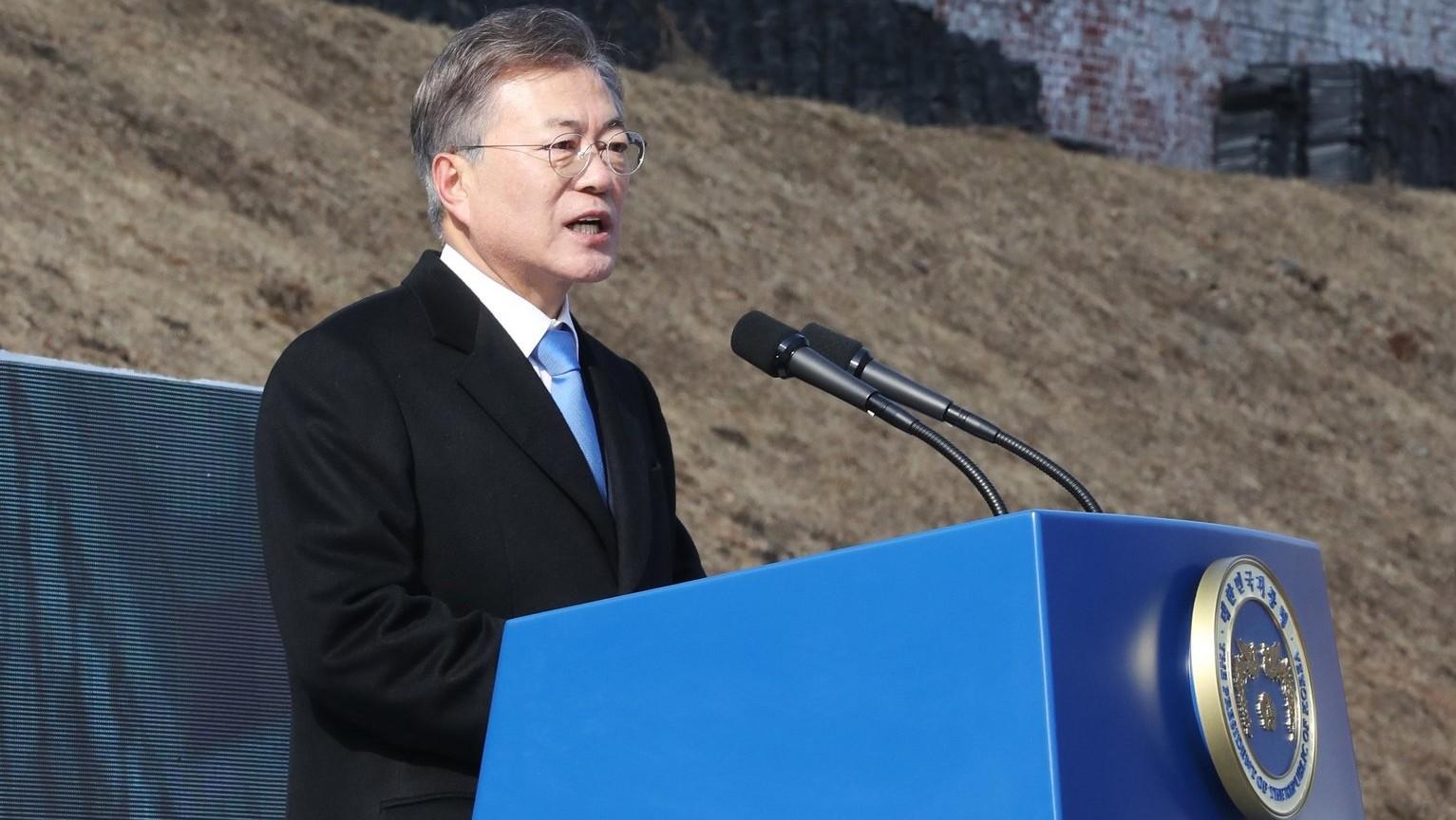 Mun Dzse In, dél-koreai elnök (Fotó: MTI/EPAYonhap)