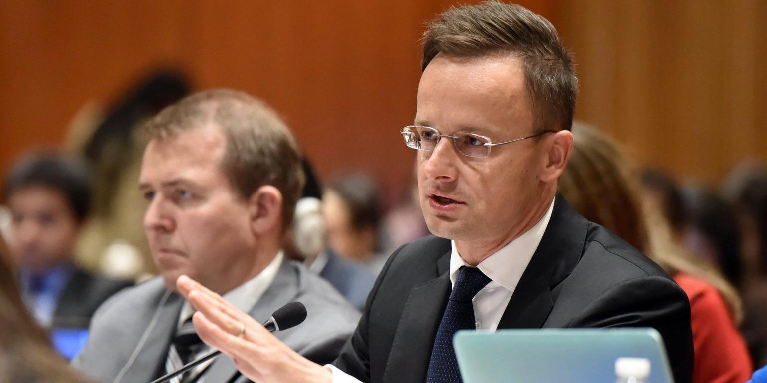 Szijjártó Péter felszólal az ENSZ globális migrációs csomagjáról folytatott kormányközi tárgyaláson New Yorkban 2018. március 12-én. (MTI/KKM)