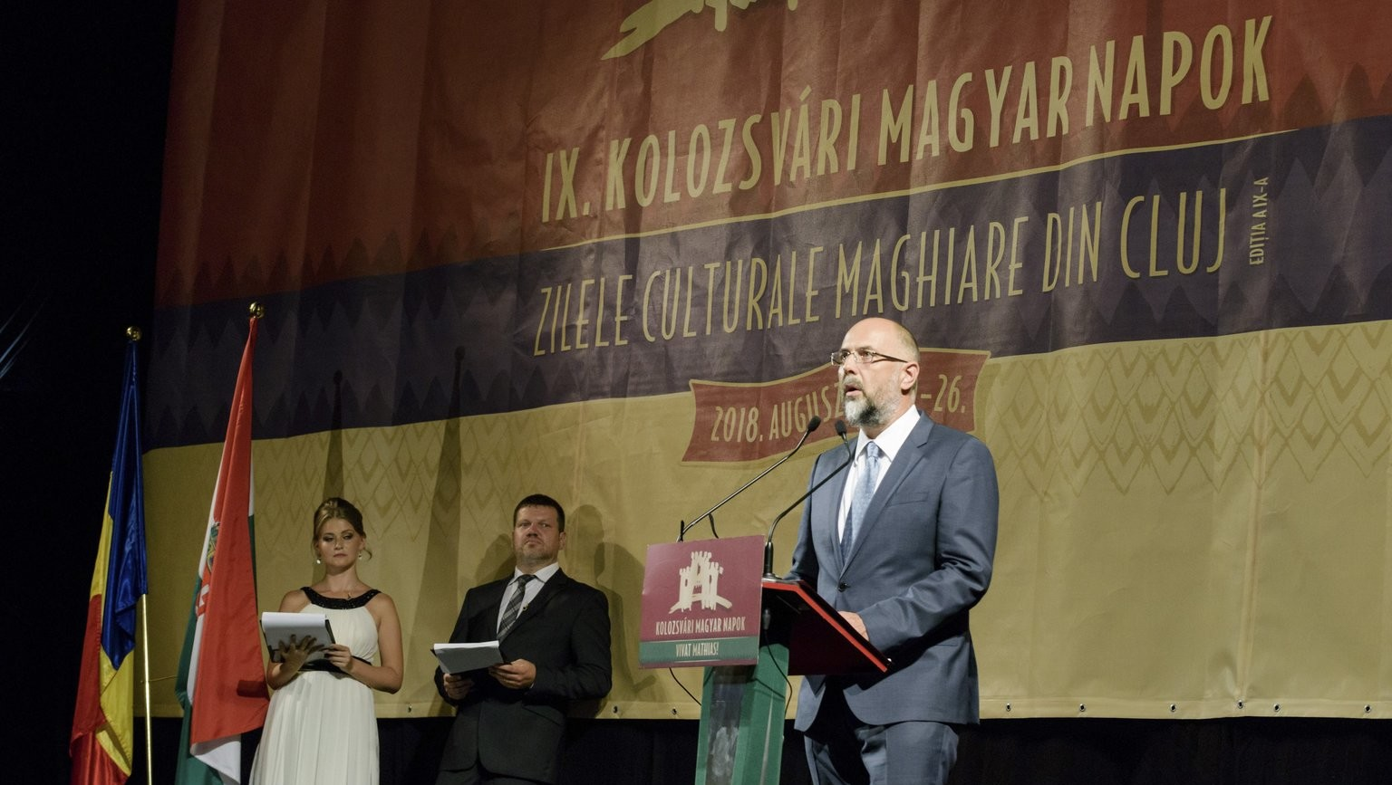Hunor Kelemen, President of the Hungarian Democratic Union in Romania, speaks at the opening ceremony of the 9th Hungarian time of Cluj Napoca in the building of the Hungarian Opera House in Kolozsvár on August 20, 2018 (Photo: MTI / István Biró)