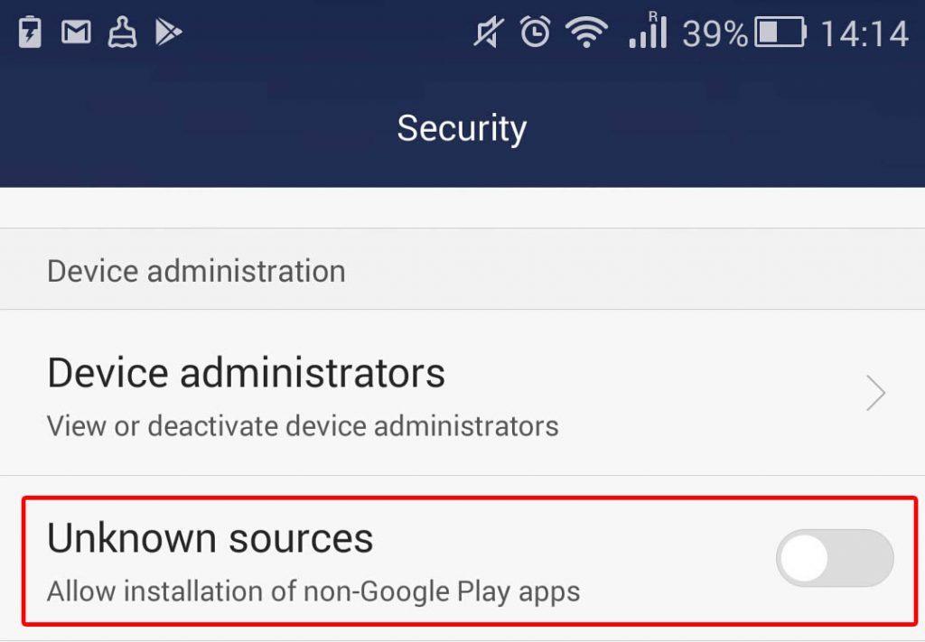 Külső forrásból származó programok telepítésének letiltása Android készülékeken (Forrás: Kaspersky)