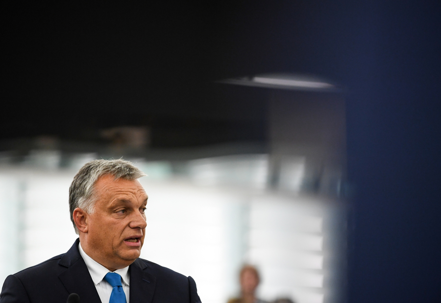 epa07012854 Hungarian Prime Minister Viktor Orban delivers his speech at the plenary session at the European Parliament in Strasbourg, France, 11 September 2018. In the afternoon, the European Parliament is debating a report by Greens MP Judith Sargentini. Among other things, the government in Budapest is accused to curtail the rights of minorities, dissenters and journalists, damage the independence of the judiciary and restrict religious freedom. EPA/PATRICK SEEGER
