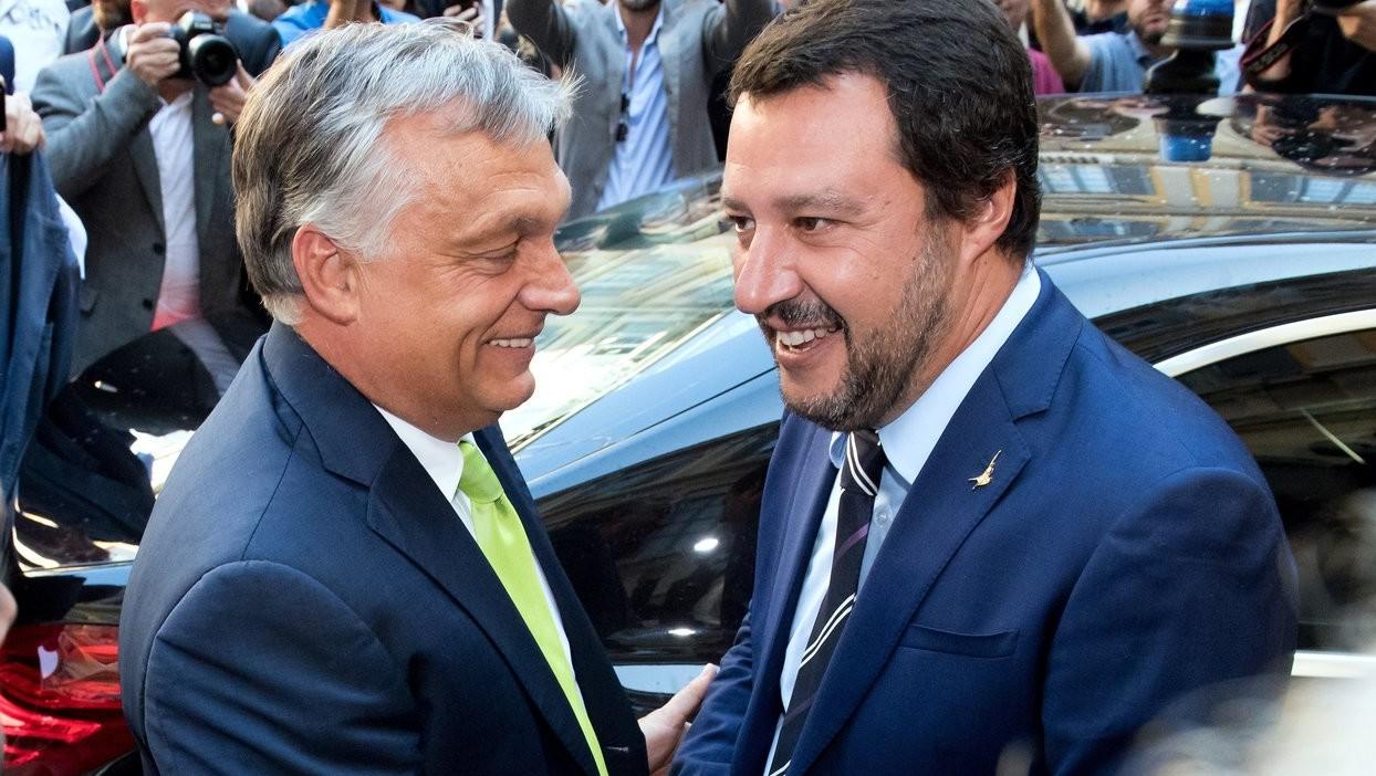 Matteo Salvini olasz belügyminiszter fogadja Orbán Viktor miniszterelnököt a milánói városházán 2018. augusztus 28-án (Fotó: MTI/Koszticsák Szilárd)