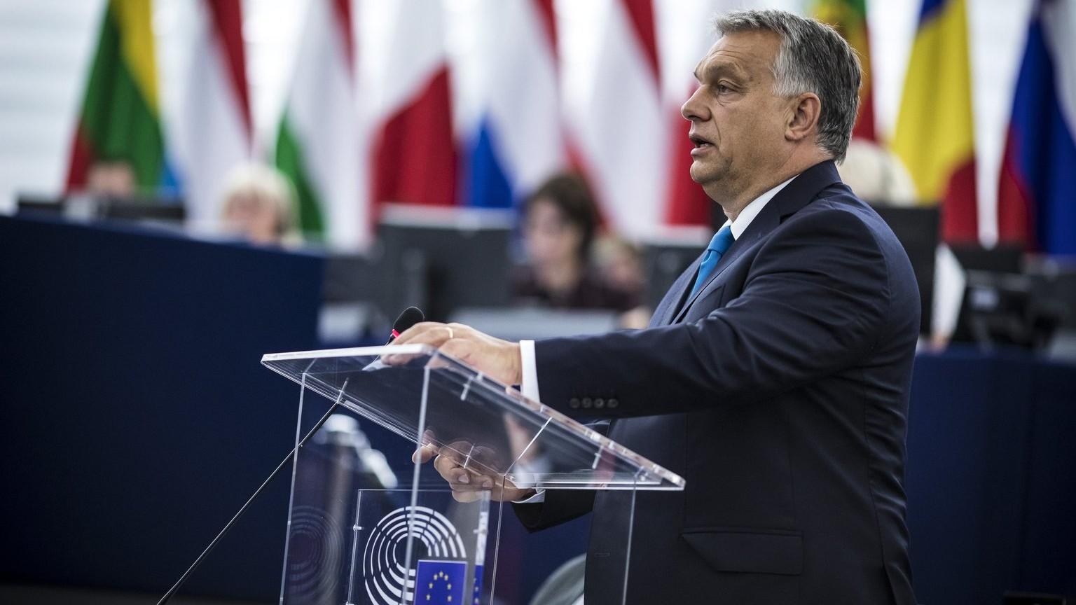Orbán Viktor miniszterelnök felszólal az Európai Parlament vitáján 2018. szeptember 11-én (Fotó: MTI Fotó: Miniszterelnöki Sajtóiroda / Szecsődi Balázs)