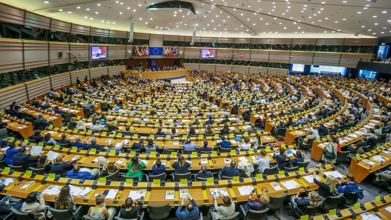 Az Európai Parlament brüsszeli ülésterme (Fotó: MTI/EPA/Stephanie Lecocq)