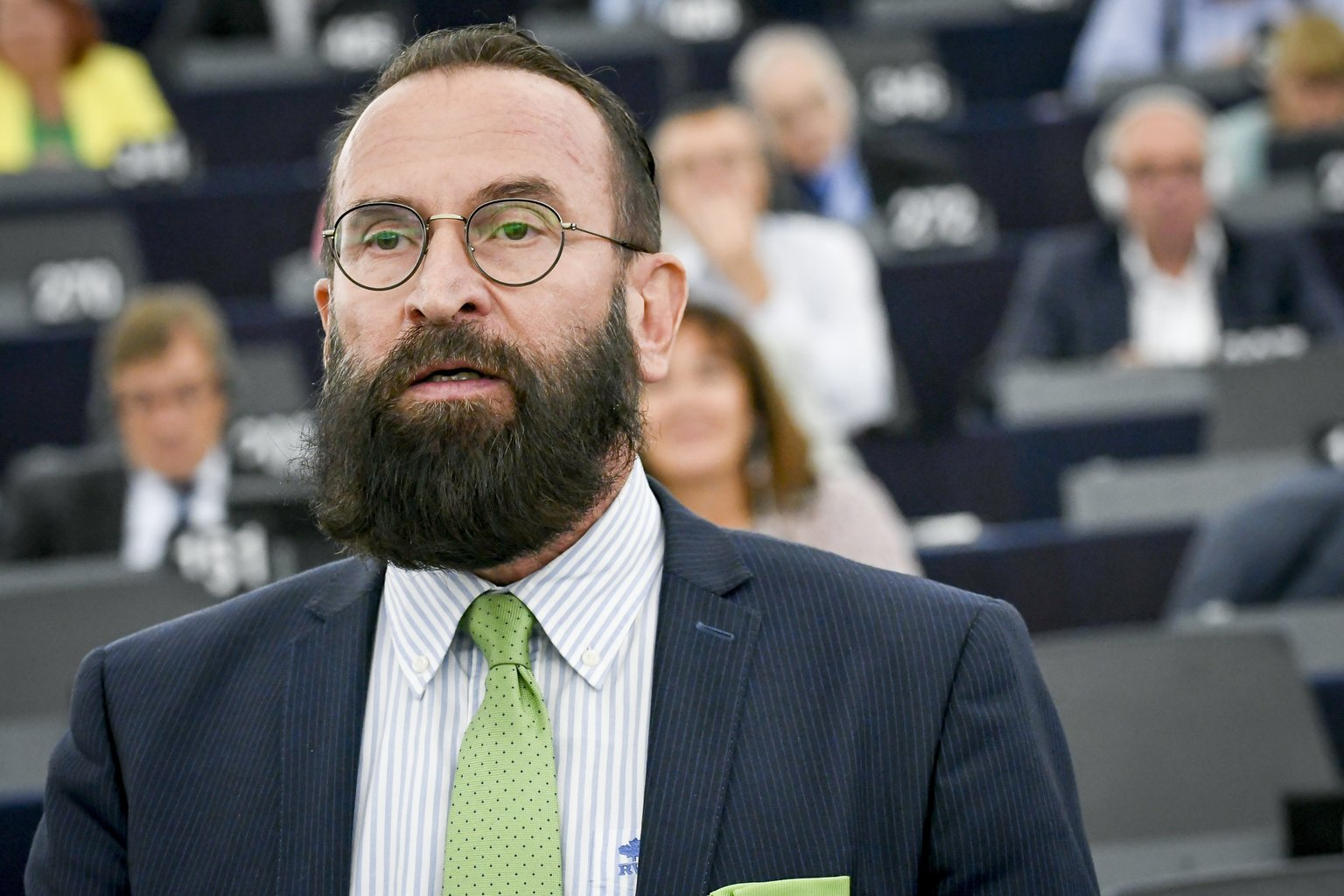 Szájer József fideszes európai parlamenti képviselő felszólal a Sargentini-jelentés vitáján (Fotó: MTI/Európai Parlament Multimédiás Központja/Genevieve Engel)