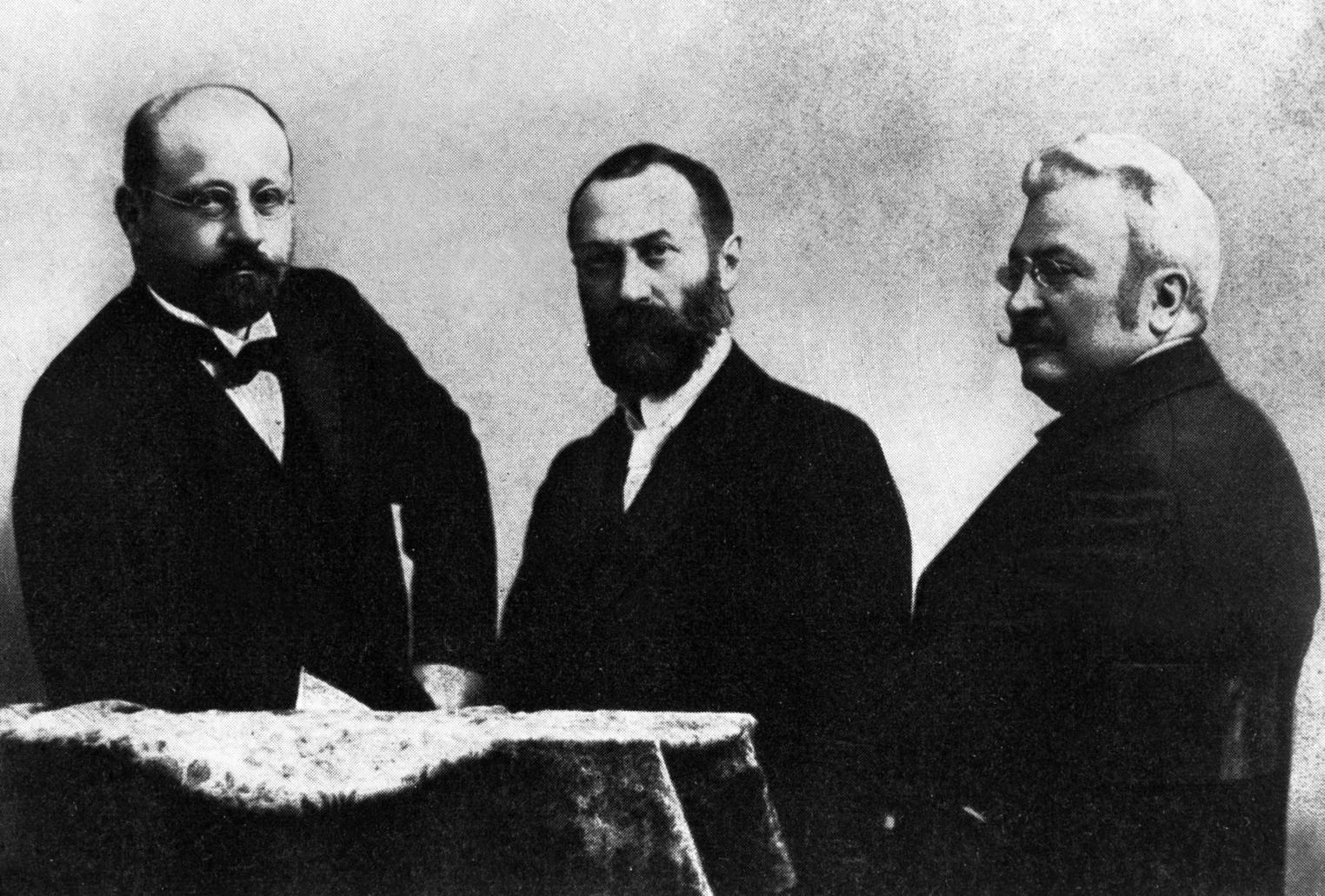 Déri Miksa, Bláthy Ottó Titusz és Zipernowsky Károly a transzformátor feltalálói. MTI Fotó: Reprodukció