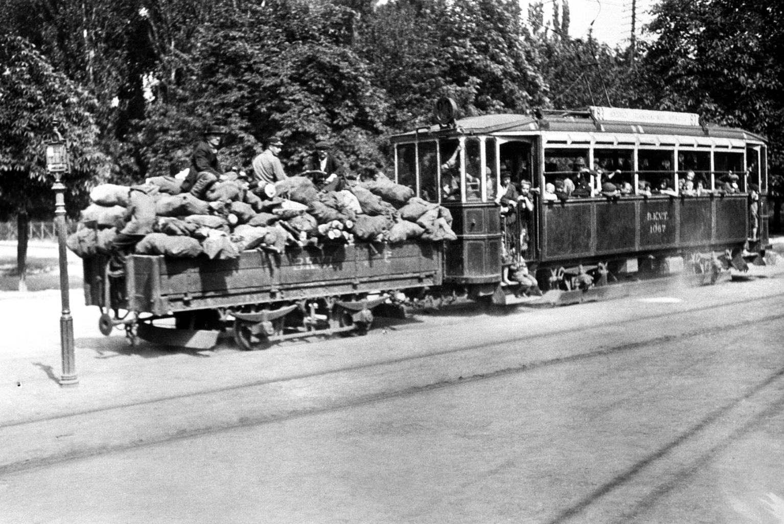 Budapest, 1918. Tüzelőnek szánt, zsákokba gyűjtött rőzsével megrakott teherkocsit vontat a Hűvösvölgyből közlekedő villamos a városba - a Kiscelli Múzeum gyűjteményéből származó felvétel reprodukciója. Az eredeti felvétel szerzője és a készítés pontos dátuma ismeretlen. MTI Fotó: Reprodukció