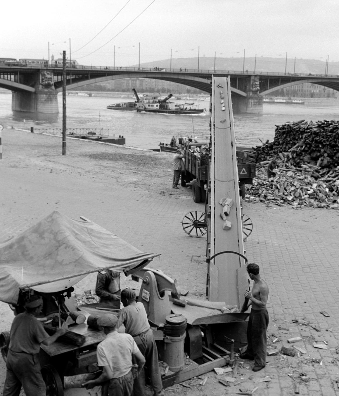 Budapest, 1960. július 1. Szállítószalag juttatja a teherautóra a helyszínen darabolt és aprított tűzifát a Margit híd pesti hídfőjénél levő telepen, a háttérben egy gőzhajó megdöntött kéményekkel halad át a híd alatt. MTI Fotó: Fényes Tamás